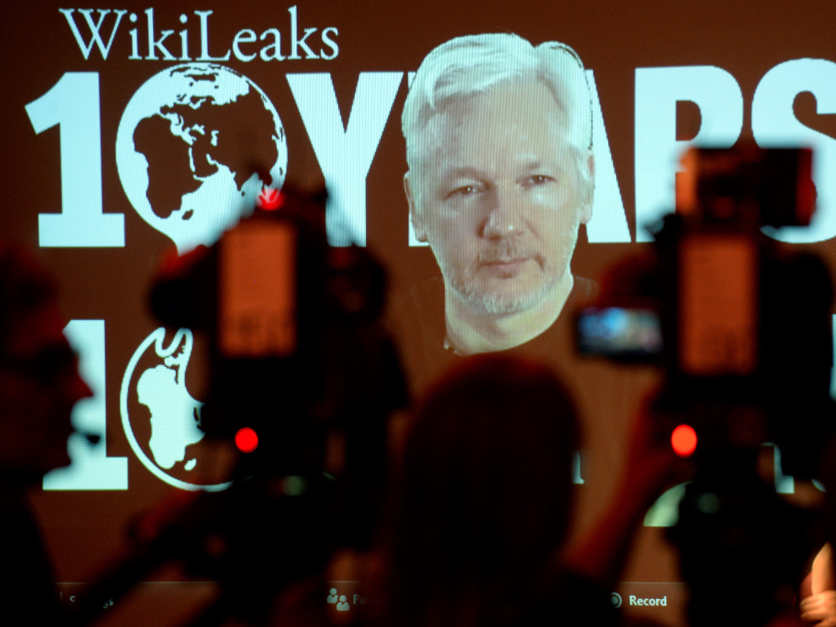 WikiLeaks founder Julian Assange participates via video link at a news conference marking the 10th anniversary of the secrecy-spilling group in Berlin this week. The site published more documents Friday.