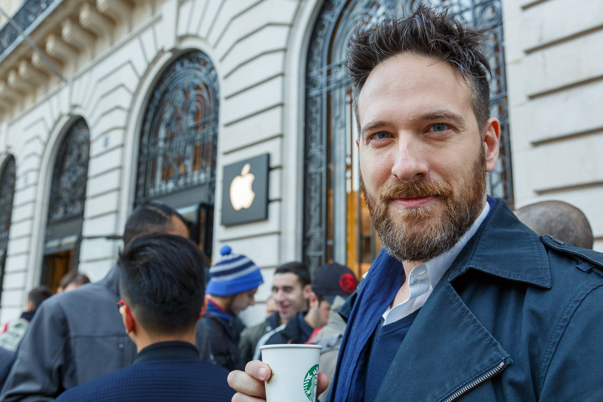 Manuel Cimarosti, a 38-year-old Parisian who has owned every iPhone since the first, enjoys the spectacle of iPhone launches. He's happy to reserve a place in line on the Internet though, which meant he had to wait only a half hour in line instead of the six hours he queued for his iPhone 5S.