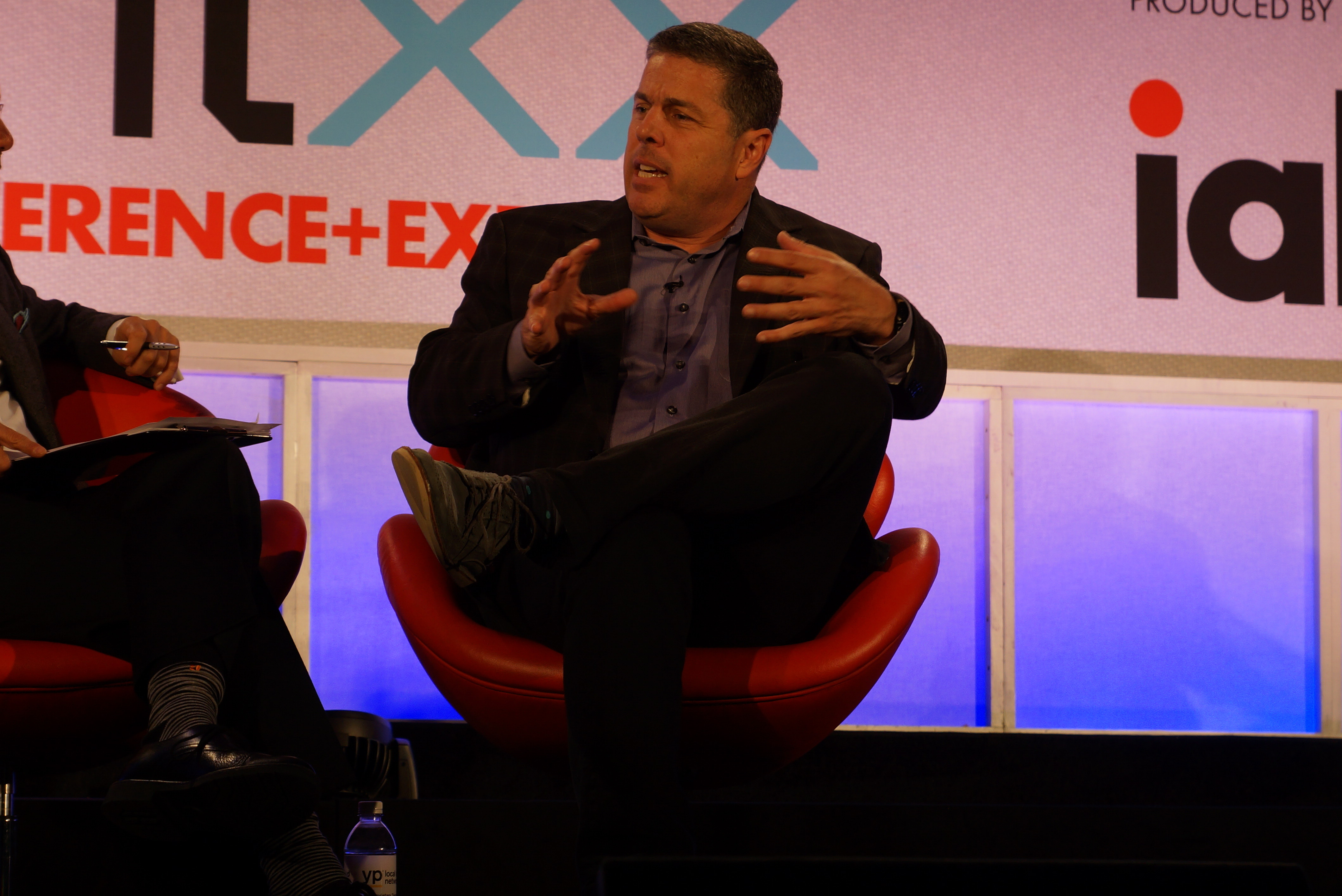 Hulu CEO Andy Forssell on a stage