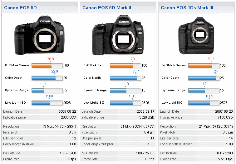 The sensor on Canon's 5D Mark II fares significantly better than that on the 5D.