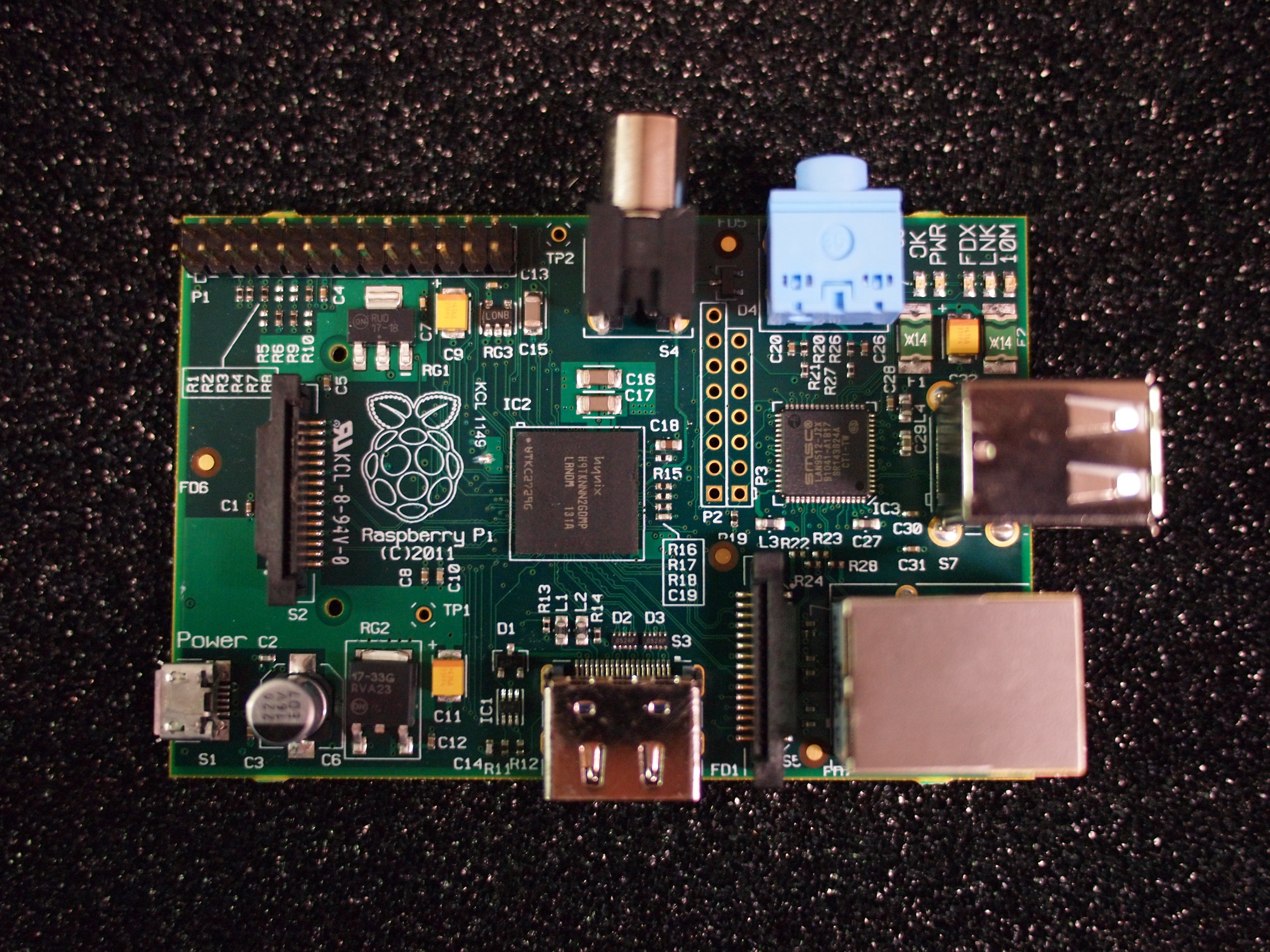 A shot of the Rasberry Pi in beta form.