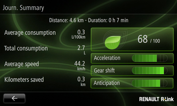 A screen from Renault's upcoming R-Link tablet-based telematics and entertainment platform.