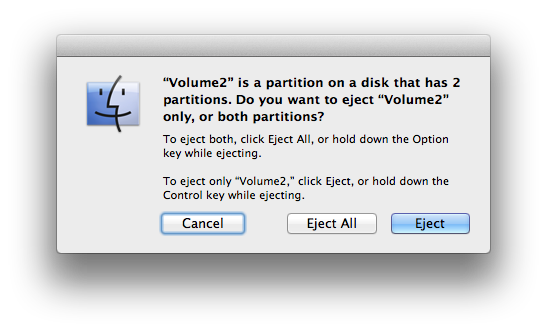 Ejection warning in OS X
