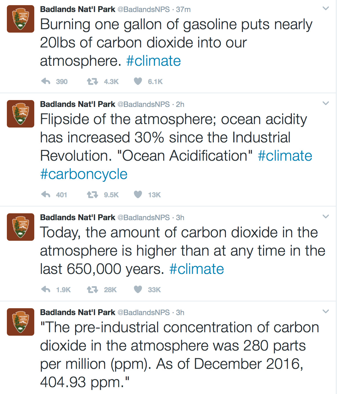 Badlands National Park ​tweeted facts about climate change, but the tweets were deleted.