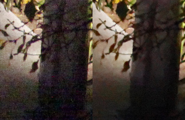 At left is a 100 percent view of a JPEG with default noise reduction settings taken with a Canon 5D Mark II at ISO 25,600. At right is the same image, processed with DxO Optics Pro 6 with default noise reduction settings. Noise reduction addresses both chrominance noise that shows as colored speckles and luminance noise that shows as variations in brightness.