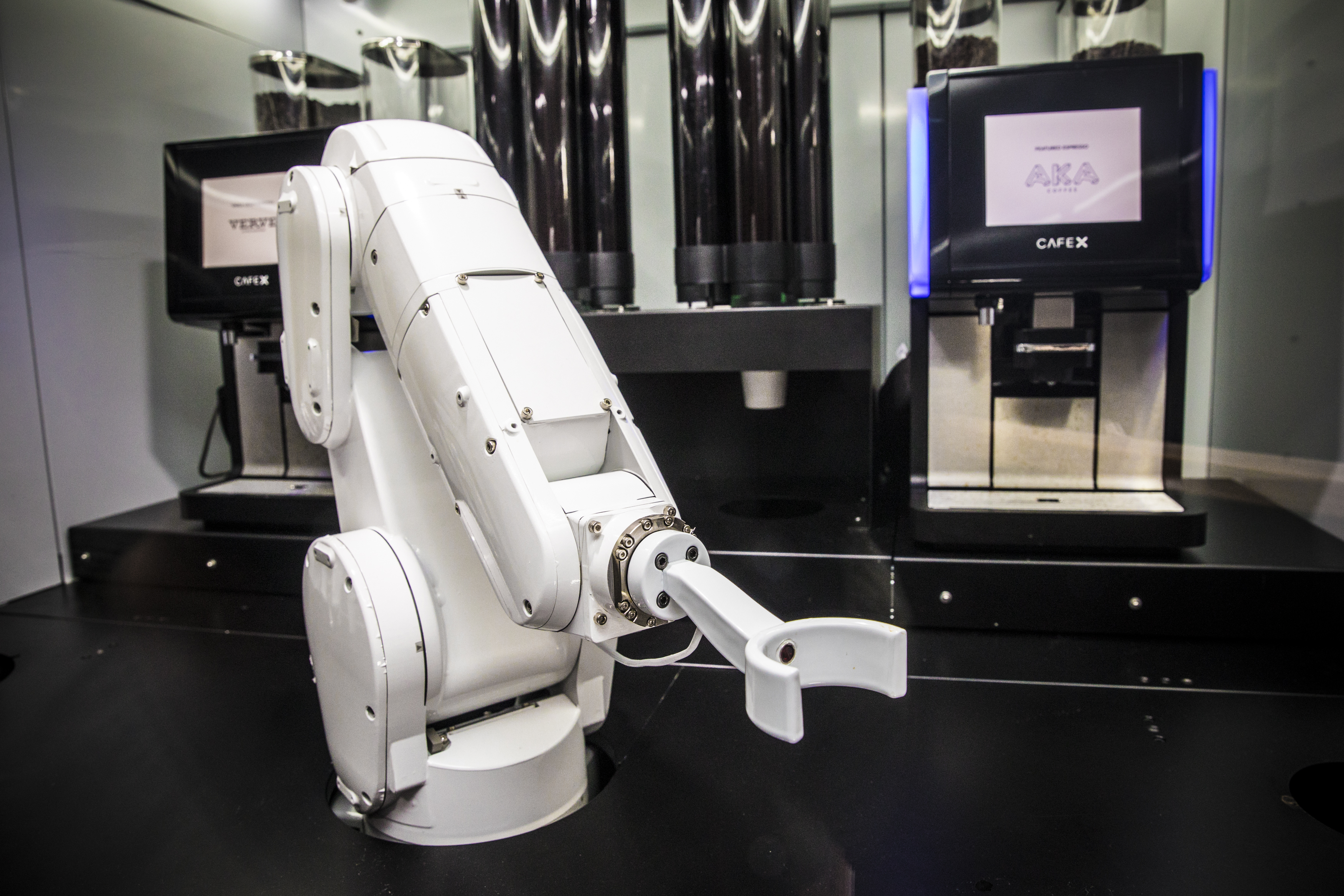 Cafe X adapted industrial robots to make coffee. This one in San Francisco is called Gordon.