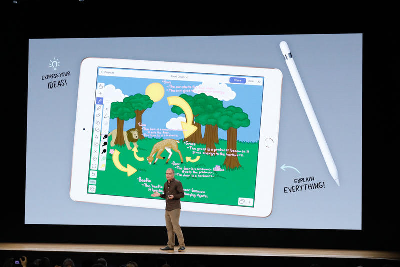 Apple's Tim Cook in front of a large rendering of the new iPad and Apple Pencil.
