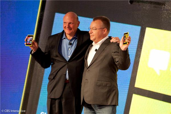 Steve Ballmer and Stephen Elop at Microsoft-Nokia event in New York last year.