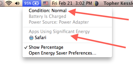Battery menu in OS X Mavericks
