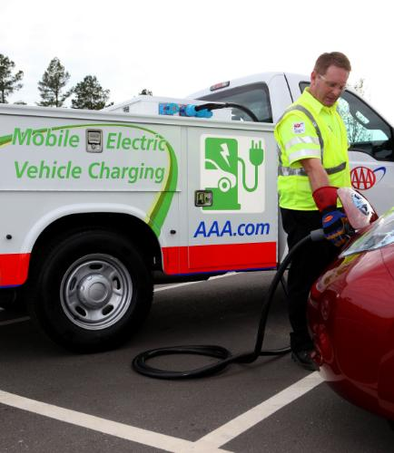 Juice on the go: AAA's mobile charger for EV batteries will provide between 3 and 15 miles of driving range.