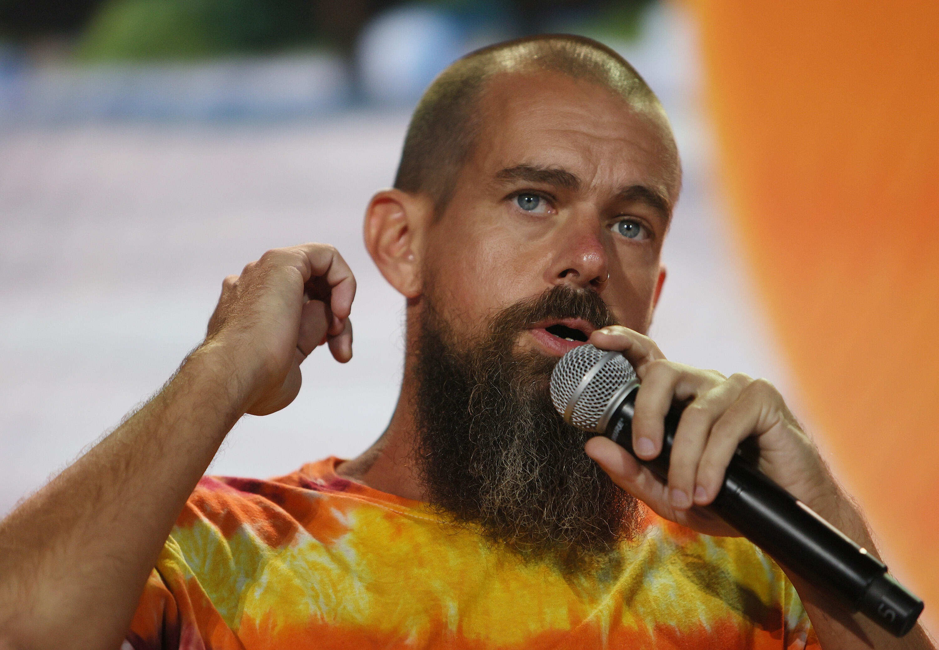 <p>Jack Dorsey, CEO of Twitter and Square, speaks on stage at the Bitcoin 2021 Convention on June 04, 2021 in Miami, Florida.&nbsp;</p>