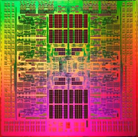 A view of Fujitsu's Sparc64 VIIIfx processor, an eight-core, 2.2GHz chip built on a 45-nanometer manufacturing process.