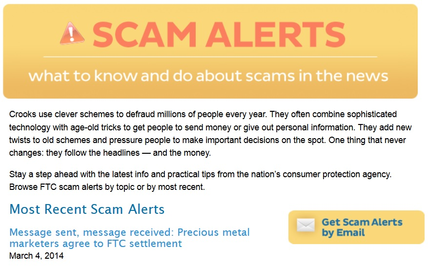 Federal Trade Commission Scam Alert page
