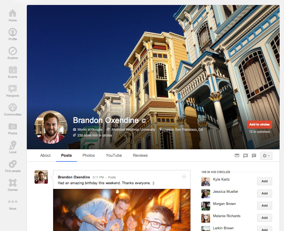 The new Google+ profile pictures feature larger cover photos.