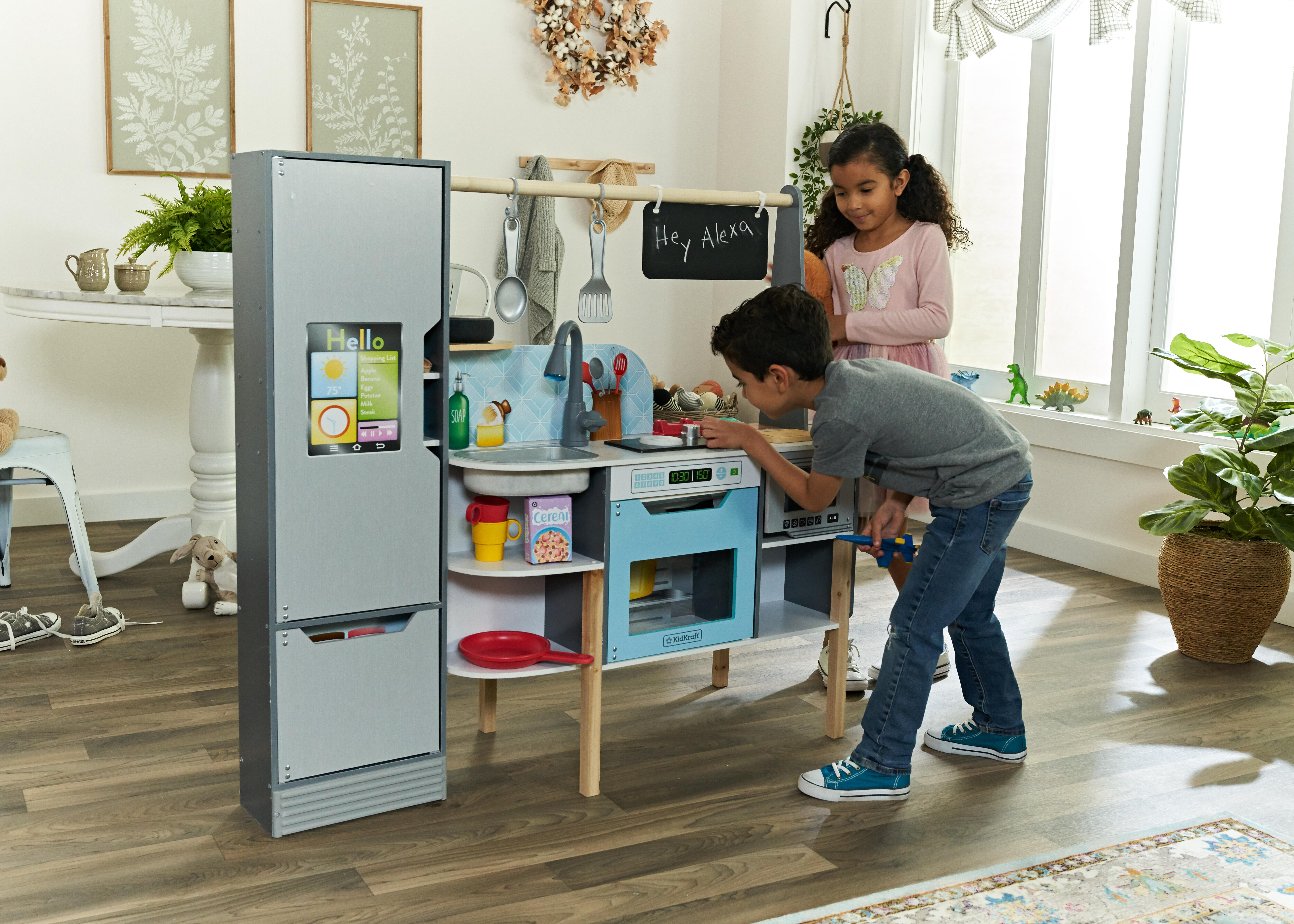 <p>KidKraft makes the Alexa 2-in-1 Kitchen and Market, a $300 playset that interacts with the Amazon Alexa voice assistant (parent's Echo not included).</p>
