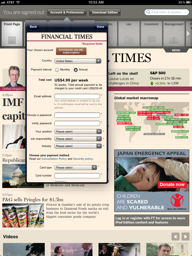 The Financial Times' iPad application, which currently allows users to subscribe from within the app outside of Apple's in-app purchase tools.