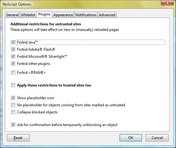 The NoScript plug-in for the Firefox browser