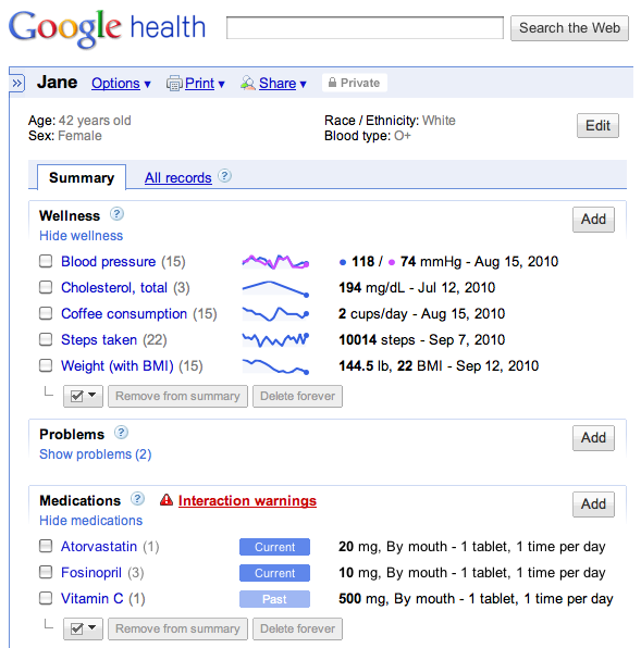 Google Health's new dashboard allows people to add personal health goals and track their medications.