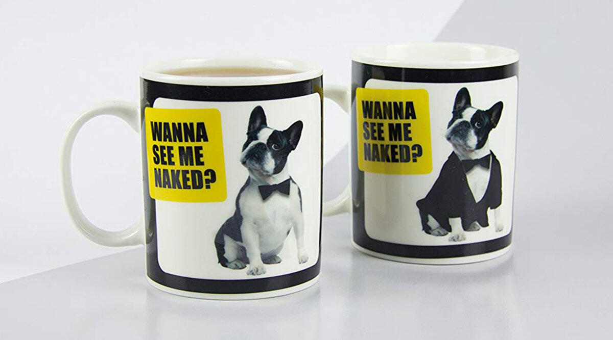 This risque heat-change mug for dog lovers