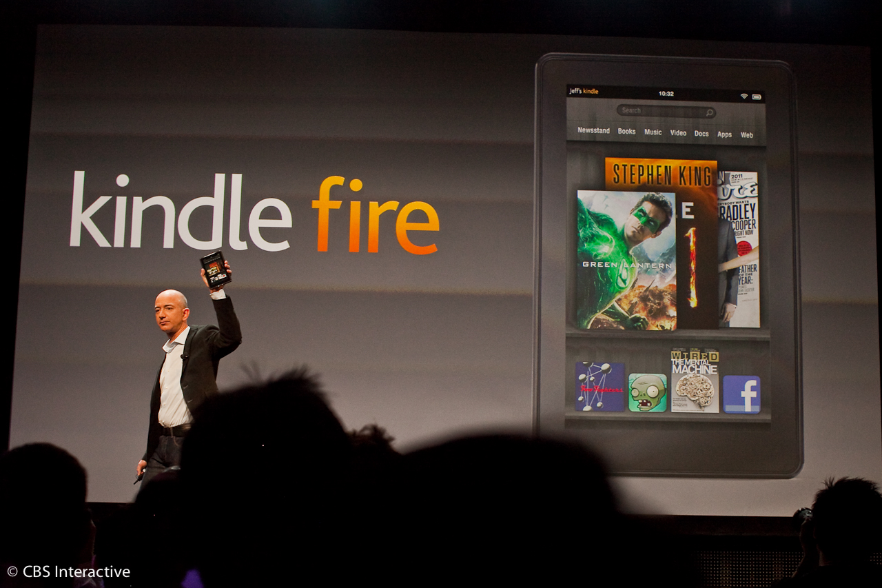 Amazon CEO Jeff Bezos unveils the Kindle Fire in September 2011.