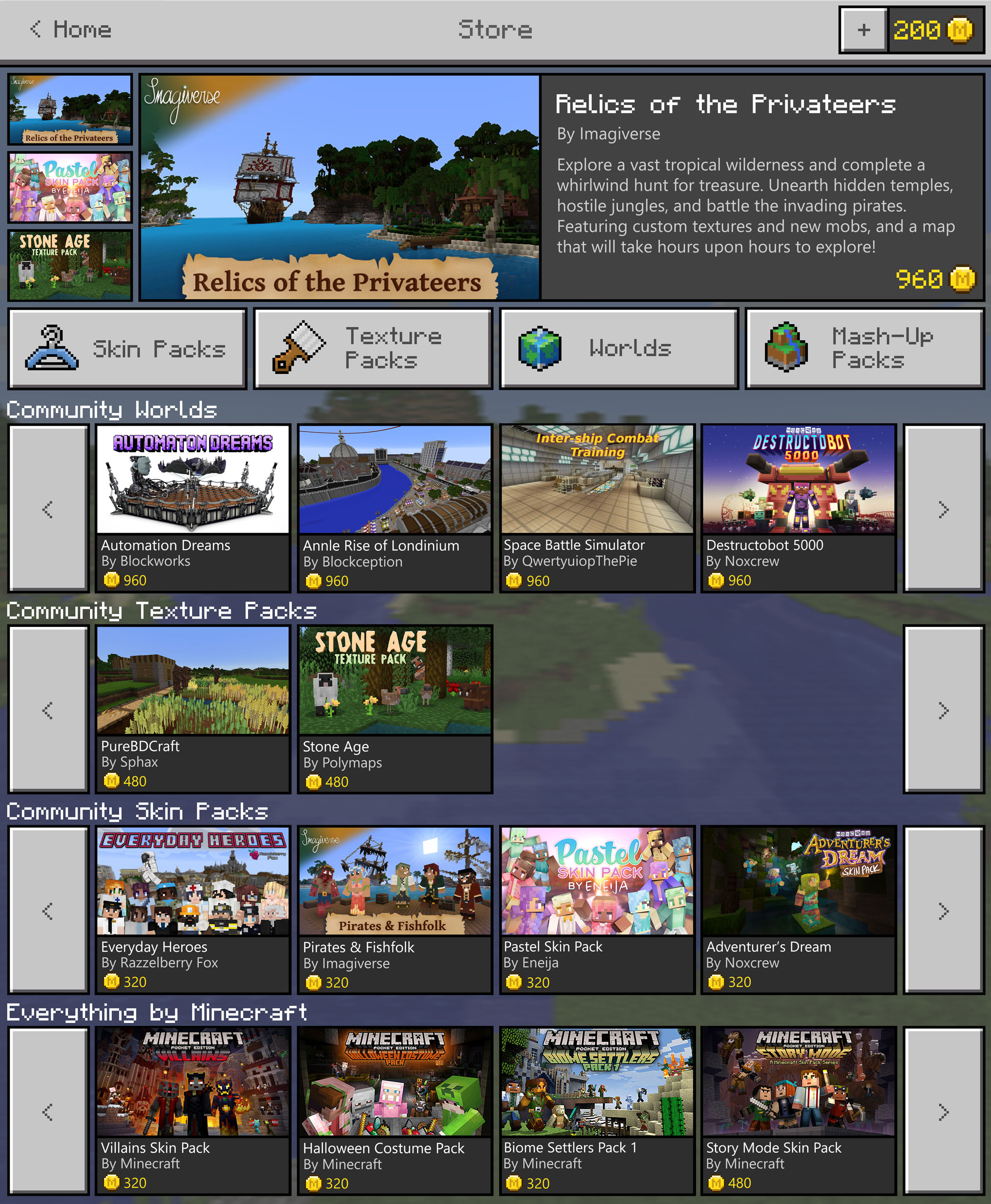 A preview of Minecraft Marketplace shows skins, texture packs and worlds that can be purchased with Microsoft Coins.