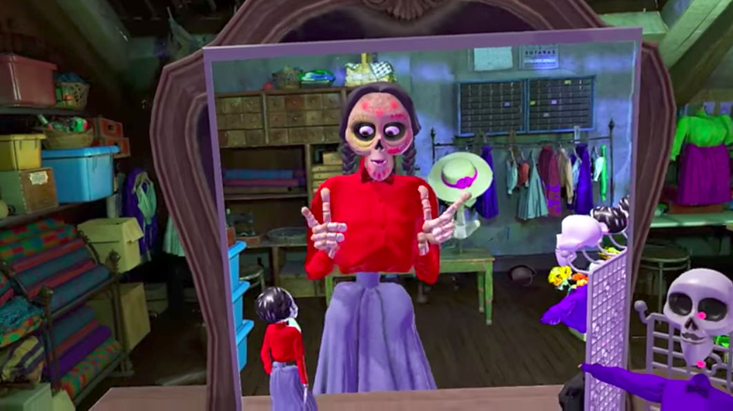A VR scene inspired by the Pixar movie Coco.