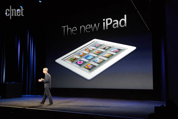 Tim Cook earlier this year announcing the new iPad.