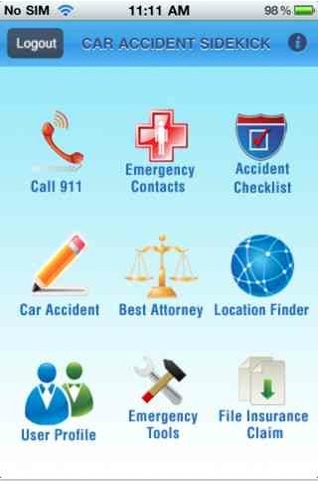Car Accident SideKick mobile app for iPhone.