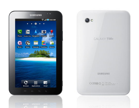 Photo of the Samsung Galaxy Tab Android tablet.