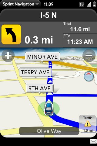 Sprint Nav: Navigation Screen - looks great, if only the service worked