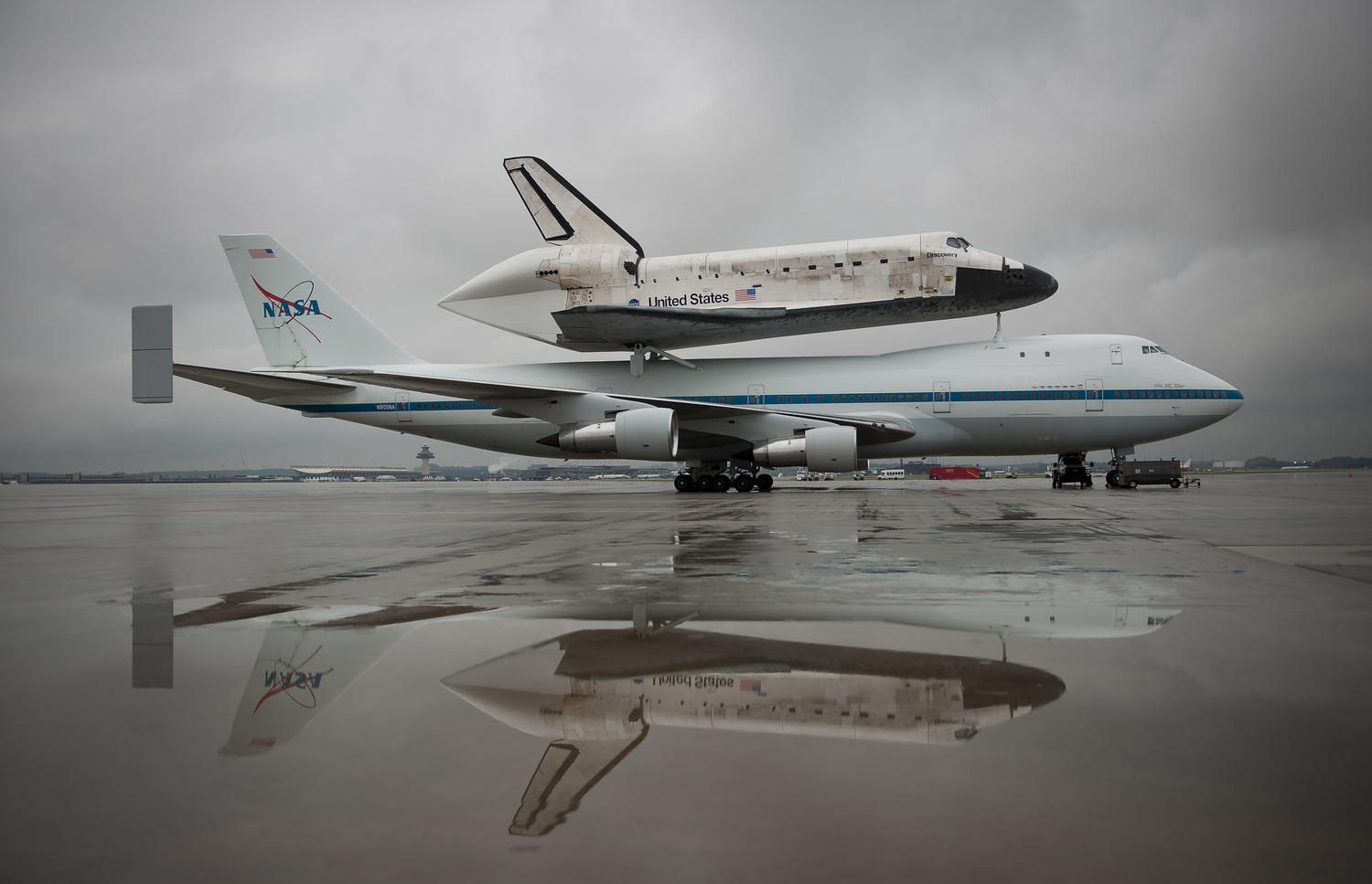 The space shuttle Discovery sits atop a 747 in 2012.