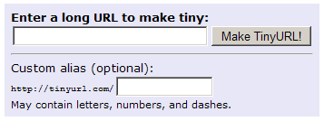 TinyURL's interface for creating short Web addresses.