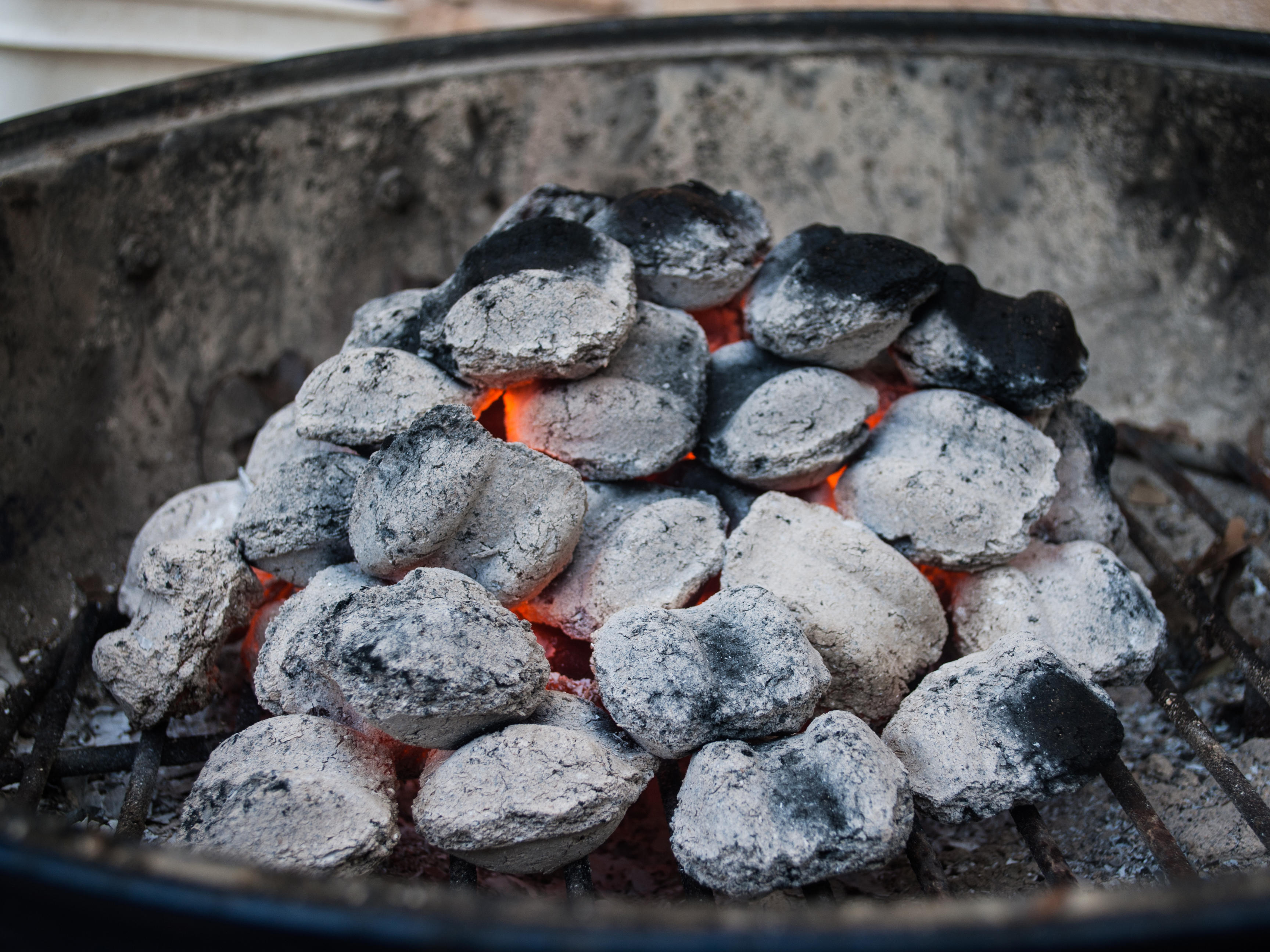 Close-Up Of Coal In Barbecue Grill