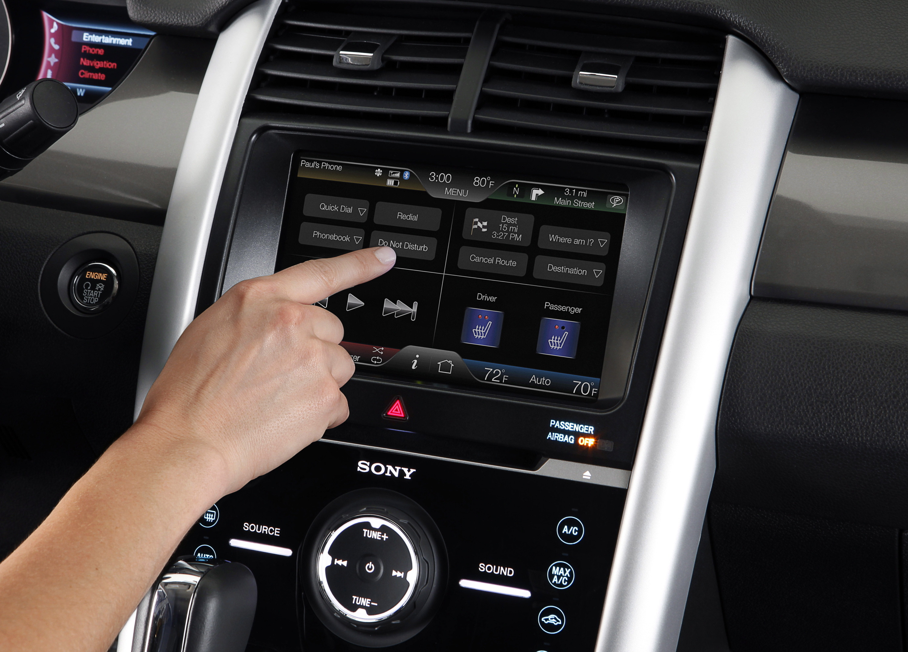 """2011 Ford vehicles equipped with MyFord and MyLincoln Touch will feature a """"Do Not Disturb"""" button for Bluetooth-synced phones."""