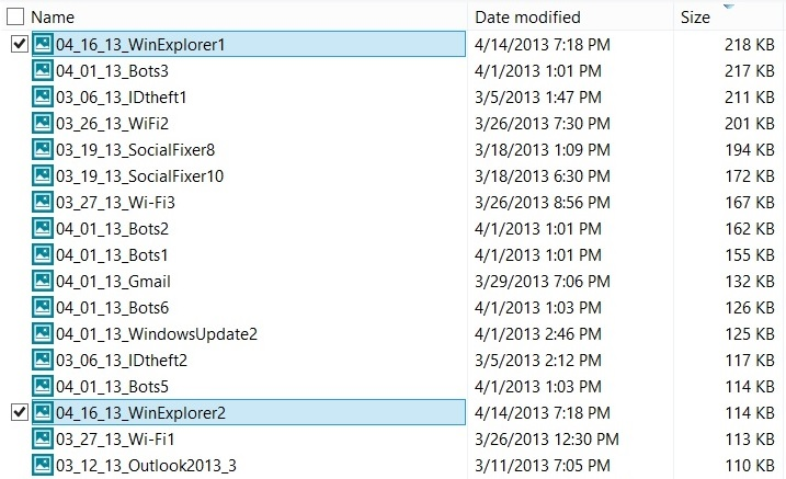 Windows 8 File Explorer with full-row selection disabled