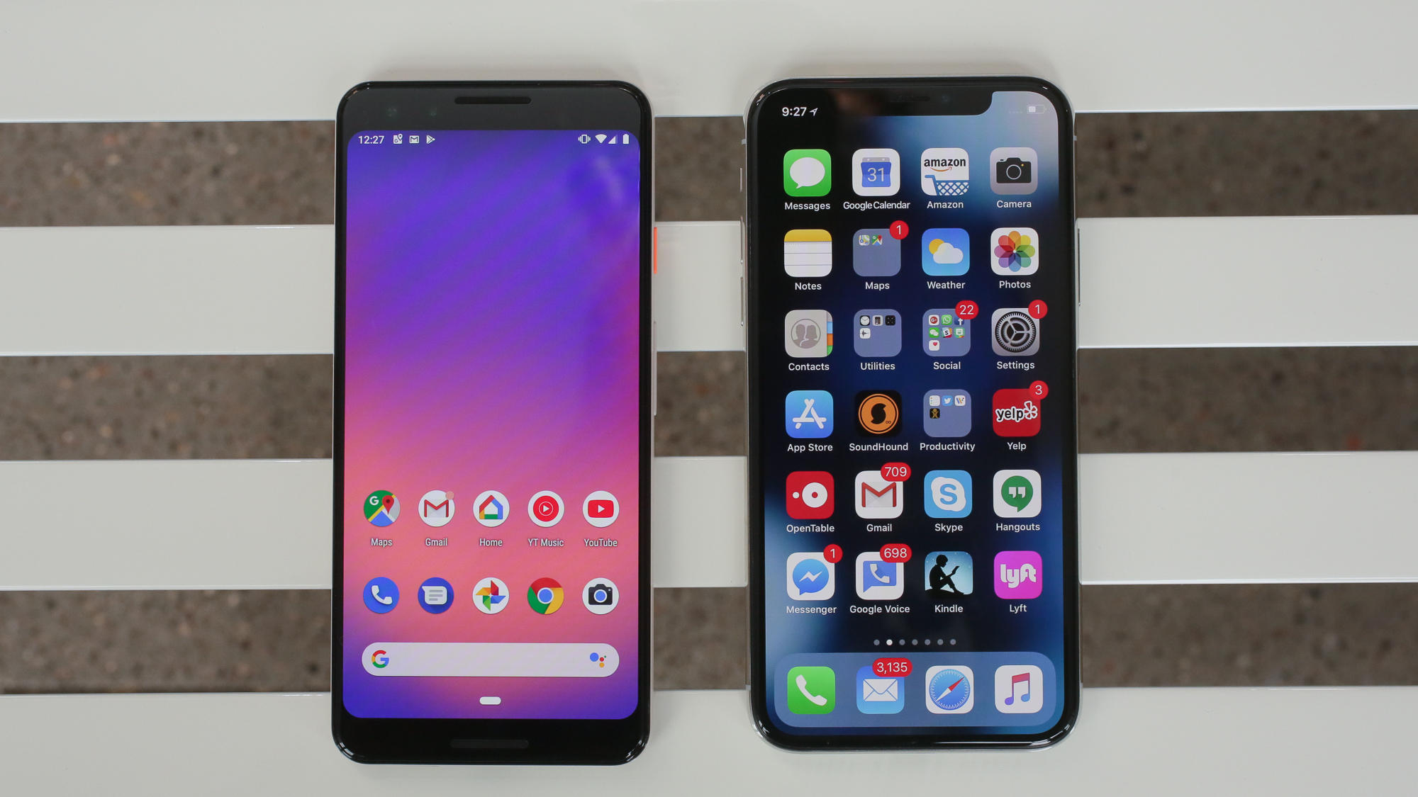 Google Pixel 3 and iPhone XS
