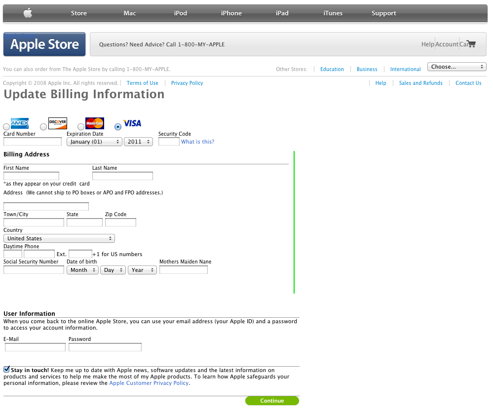 MobileMe to iCloud transition scam page