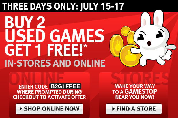 Though not quite as good as a BOGO sale, GameStop is offering one free game when you buy two.