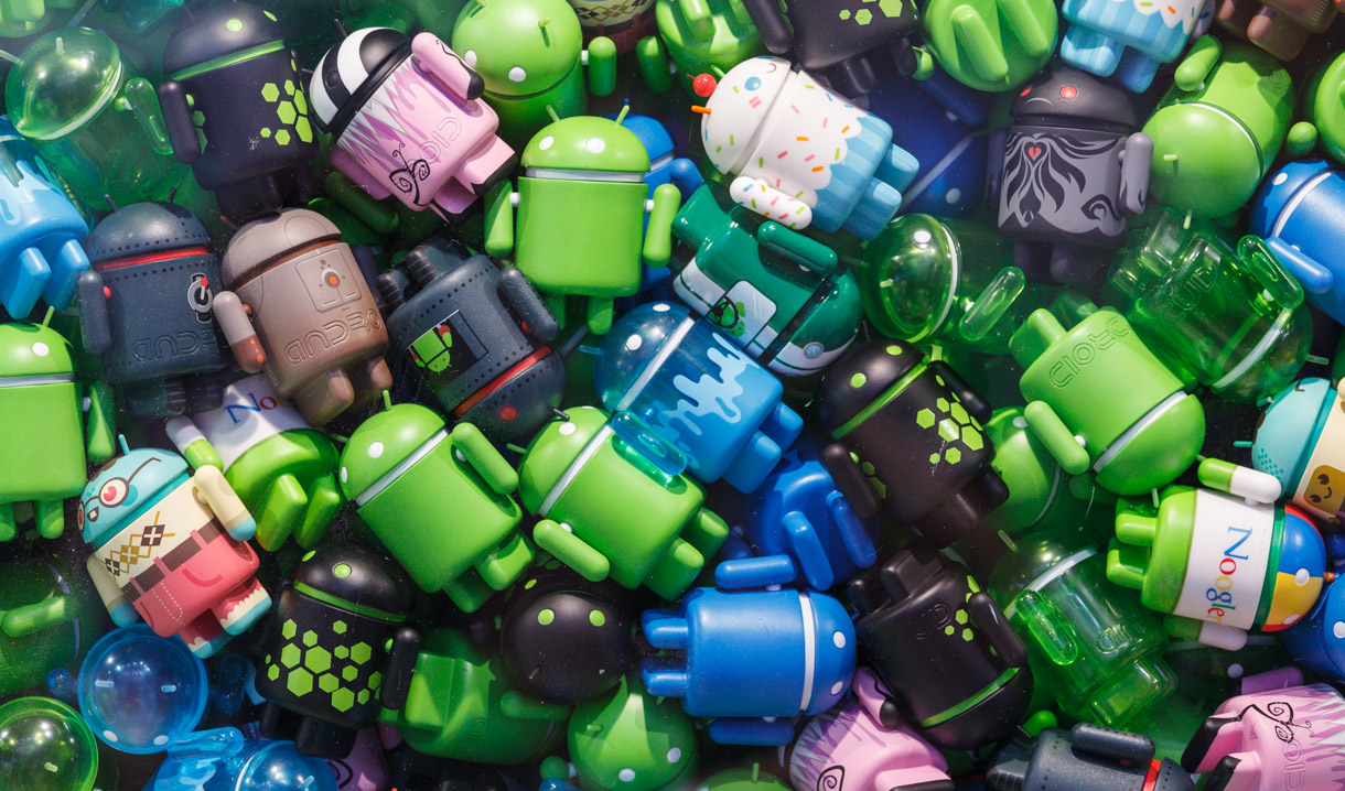 The simplicity of the Android brand name and mascot is at odds with the diverse, fragmented Android device market.