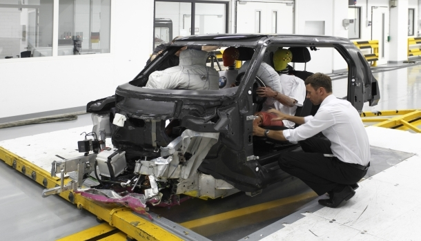BMW is experimenting with the crash-worthiness of a carbon fiber reinforced plastic passenger cell.