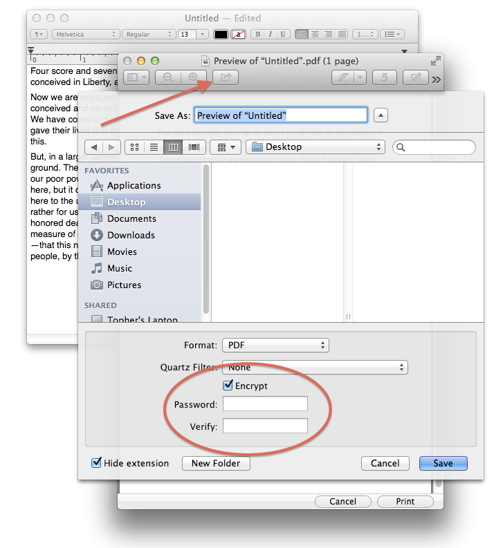 Encrypting PDFs in Preview