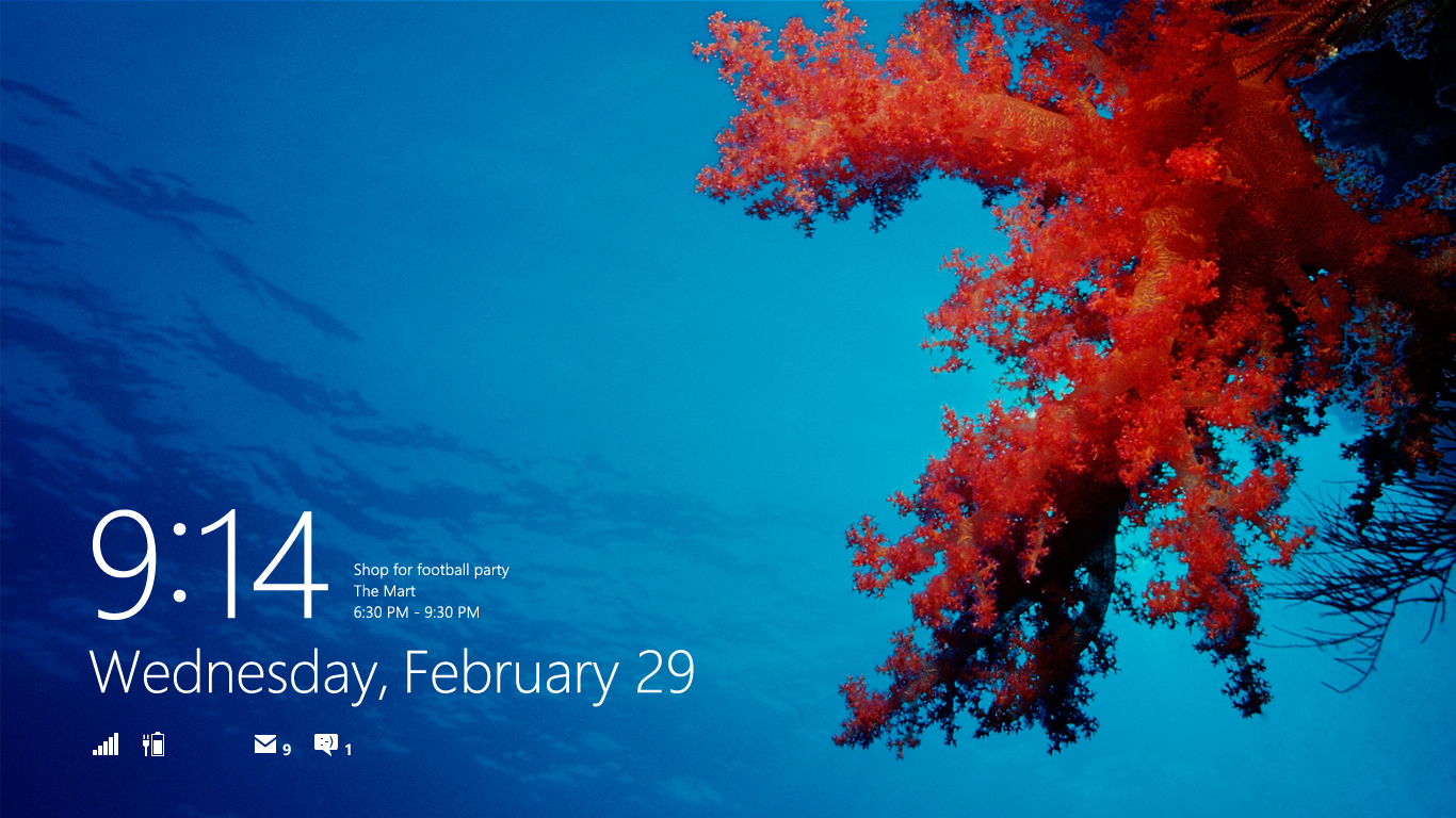 The lockscreen has been enabled to surface content from your apps, including unread emails and calendar appointments.