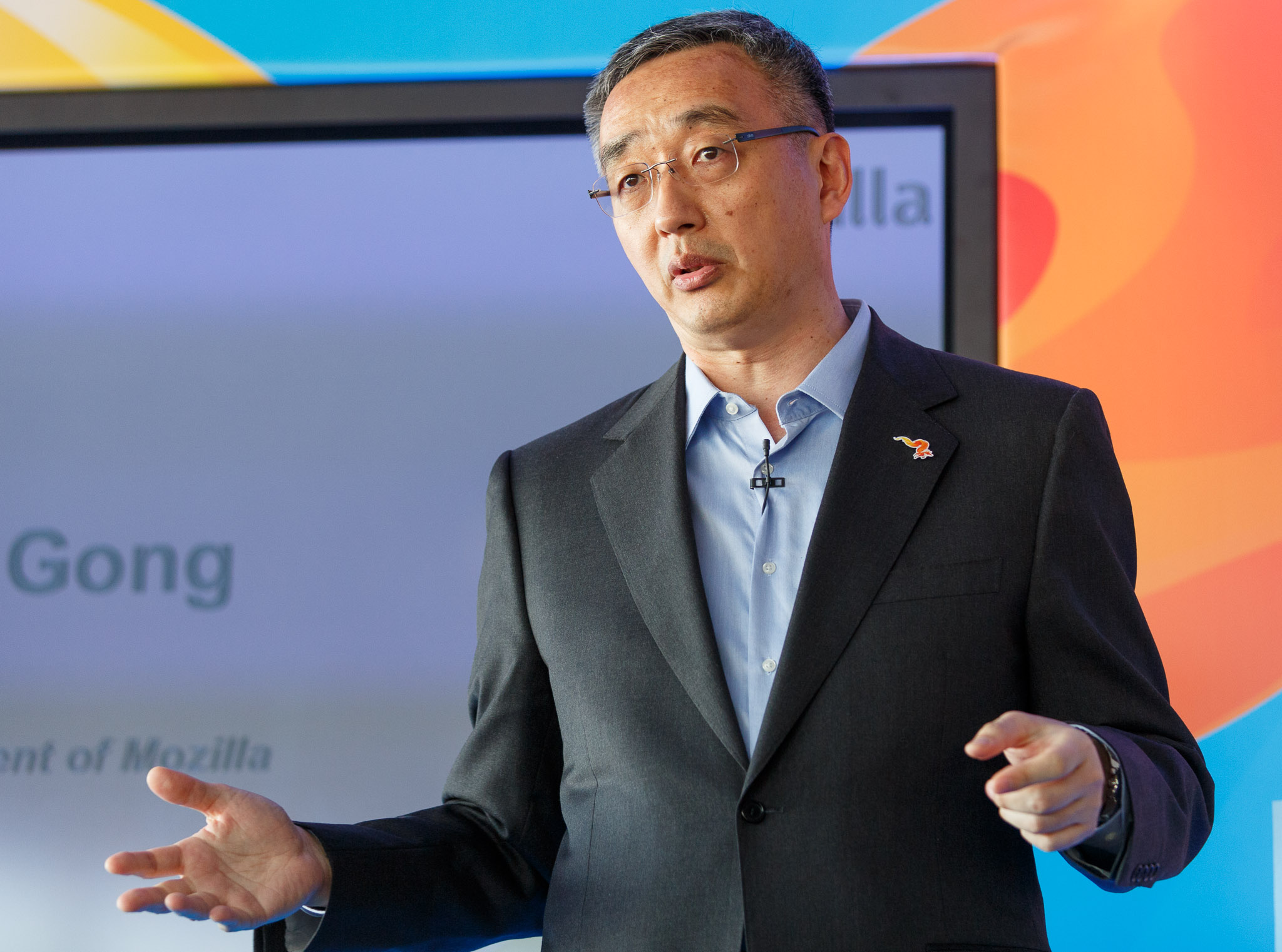 Li Gong, then Mozilla president, speaks at Mobile World Congress in March. In April he left to become CEO of a startup that for now is called Gone Fishing .