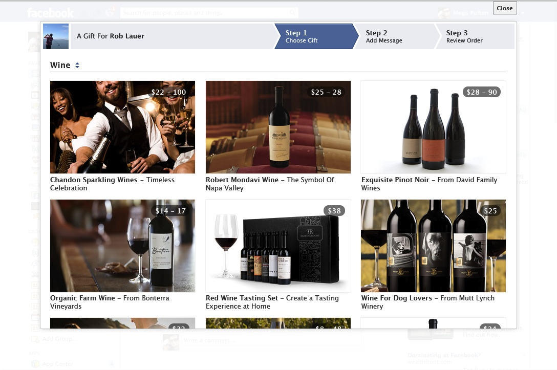 Facebook Gifts now offers wine to users over 21.