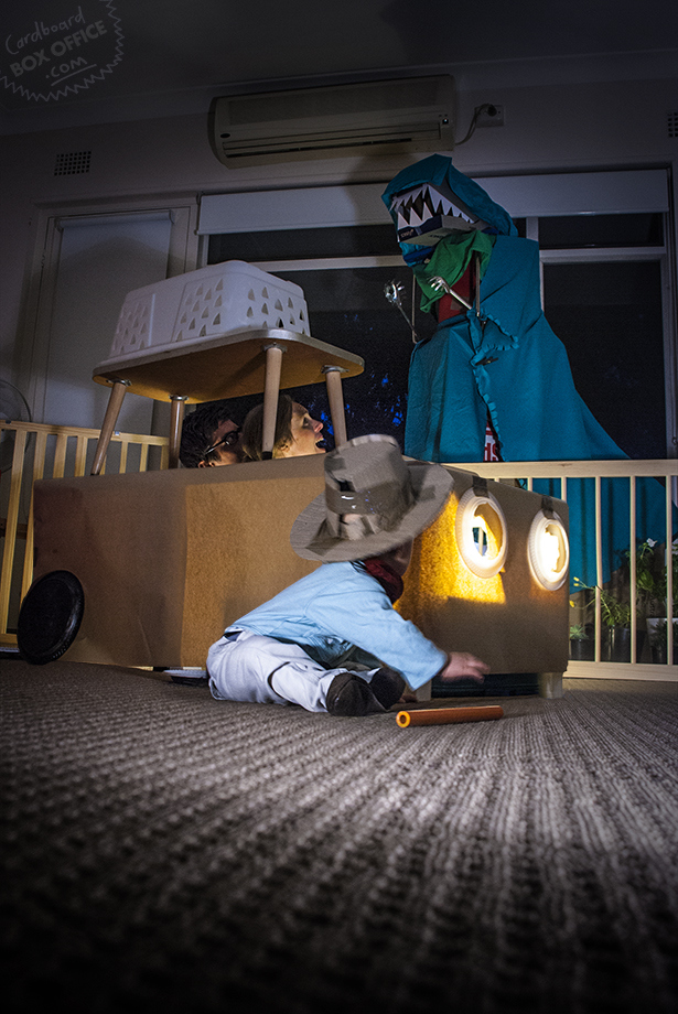"""This cardboard and blanket T-Rex might even be more magical than the real thing featured in """"Jurassic Park."""""""