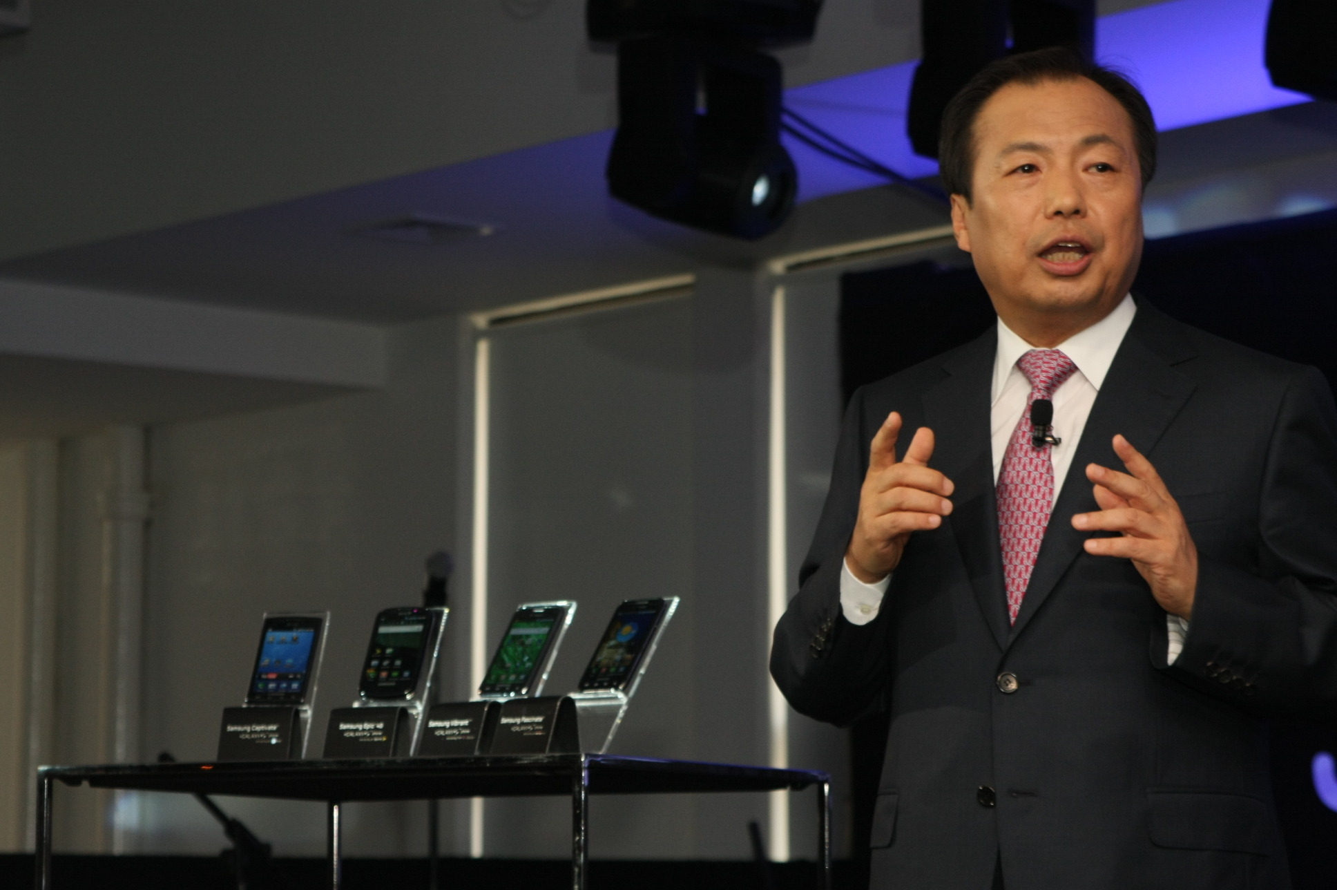 Samsung's J.K. Shin unveils the Galaxy S series at an event New York.