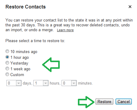 Restore deleted Gmail contacts.