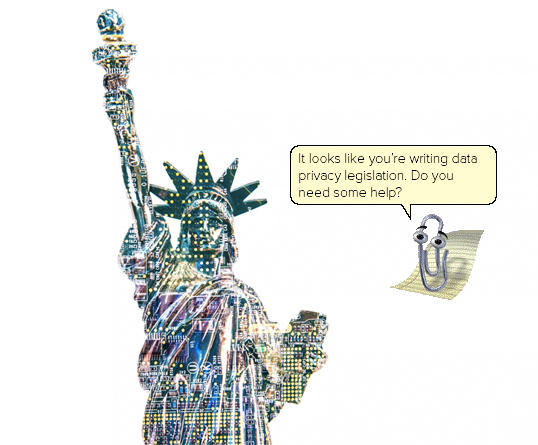 Statue of Liberty as if made from a computer motherboard.