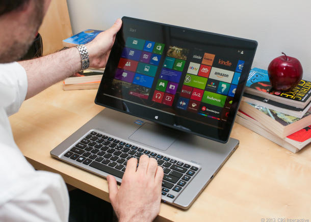The Acer Aspire R7 can bring its touch-screen forward for easier access, but then you lose access to the touchpad.