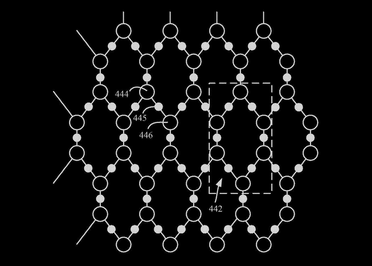 An IBM patent shows a hexagonal array of qubits in a quantum computer, arranged to minimize problems controlling the finicky data processing elements.
